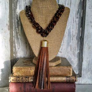 Jewelry - Handmade tassel necklace & earrings